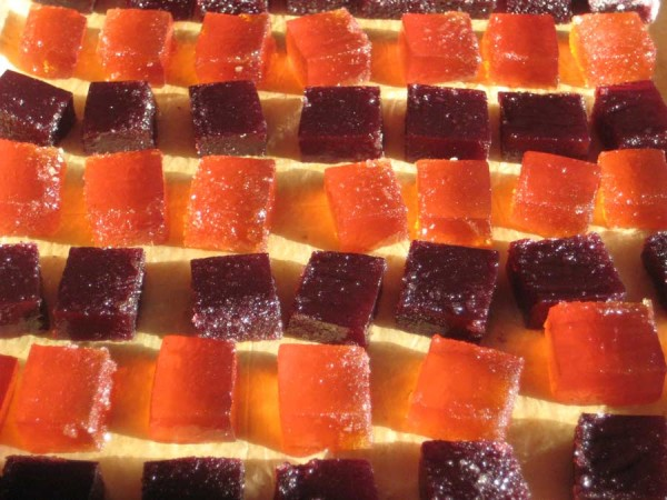 Raspberry and quince pates de fruits