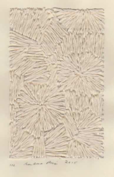 """""""124"""" by Barbara Price, 2015 (cotton line on paper, 4.25″ x 7″)"""