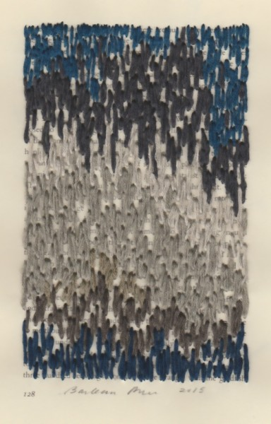"""""""128"""" by Barbara Price, 2015 (cotton line on paper, 4.25″ x 7″)"""