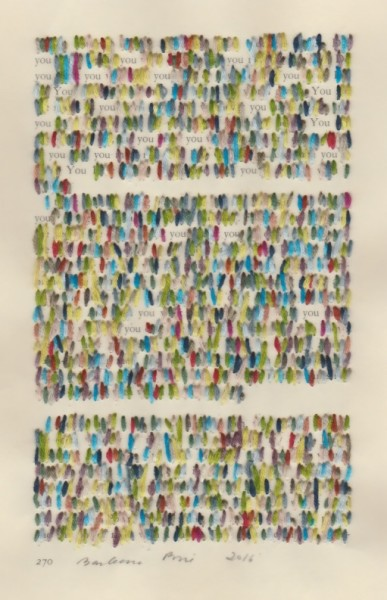 """""""270"""" by Barbara Price, 2016 (cotton line on paper, 4.25″ x 7″)"""