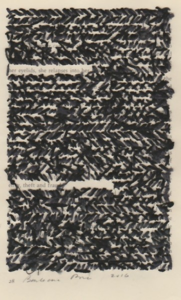 """""""28"""" by Barbara Price, 2016 (cotton line and paper, 4.25″ x 7″)"""