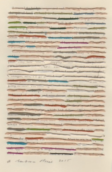 """""""48"""" by Barbara Price, 2015 (cotton line and paper, 4.25″ x 7″)"""