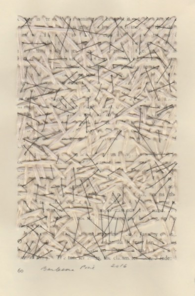 """""""60"""" by Barbara Price, 2016 (waxed line and cotton line on paper, 4.25″ x 7″)"""