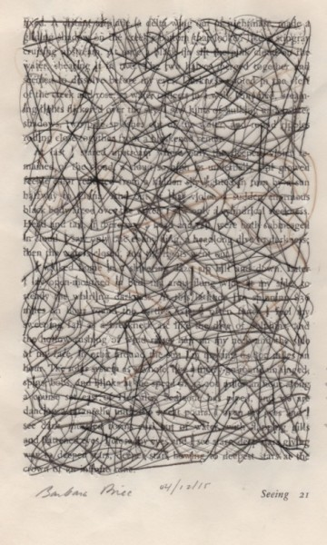"""""""Seeing 21"""" by Barbara Price, 10/10/13 (cotton line on paper, 4.25″ x 7″)"""