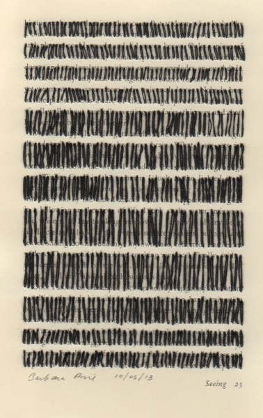 """""""Seeing 23"""" by Barbara Price, 10/05/13 (cotton line on paper, 4.25″ x 7″)"""
