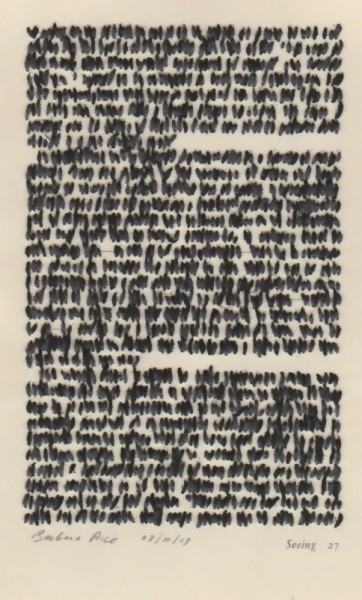 """""""Seeing 27"""" by Barbara Price, 03/10/13 (cotton line on paper, 4.25″ x 7″)"""