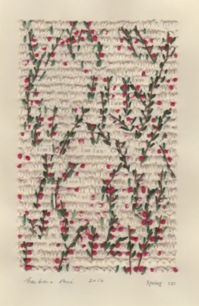 """""""Spring 121"""" by Barbara Price, 2016 (cotton line on paper, 4.25″ x 7″)"""