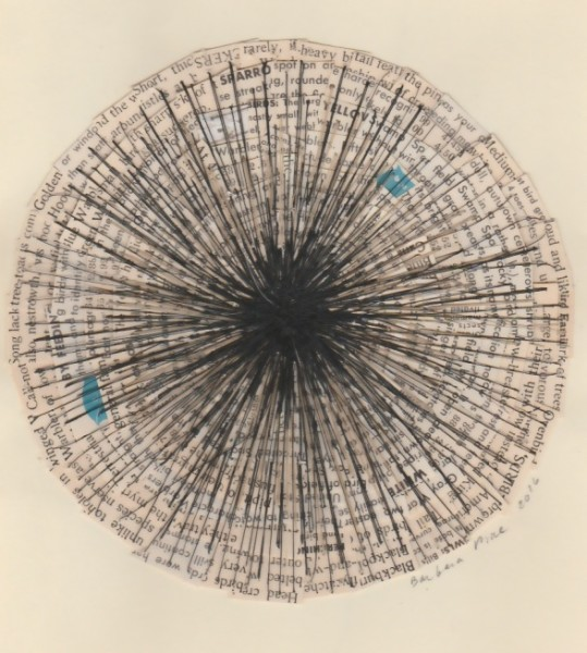 """""""Untitled (Birds)"""" by Barbara Price, 2016 (collage, cotton line, horsehair on paper, 5.75"""" diameter)"""